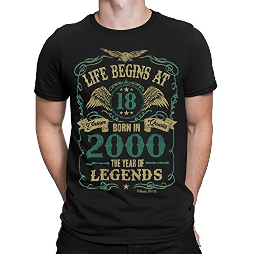 Life Begins At 18 Hommes T-Shirt - BORN In 2000 The Year of Legends 18th Cadeau d'anniversaire - par Buzz Shirts ®