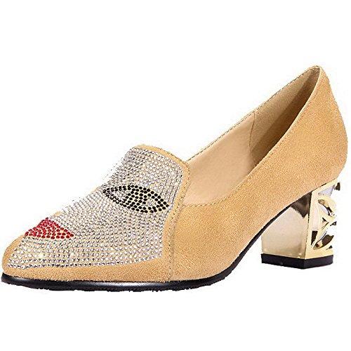 AgooLar Femme Suédé Couleur Unie Tire Pointu à Talon Correct Chaussures Légeres Abricot