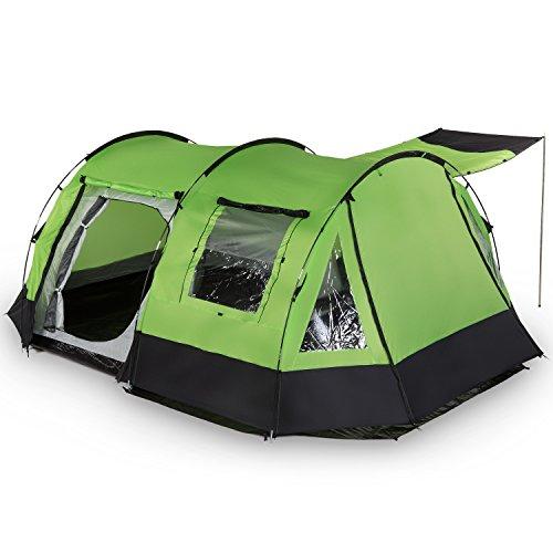 skandika Kambo - 4 Persone - Tenda campeggio familiare - Tunnel - Zanzariera (verde)