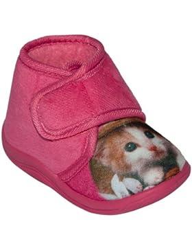 Kinder Hausschuhe mit Katze , Gr.21 - 27 , pink