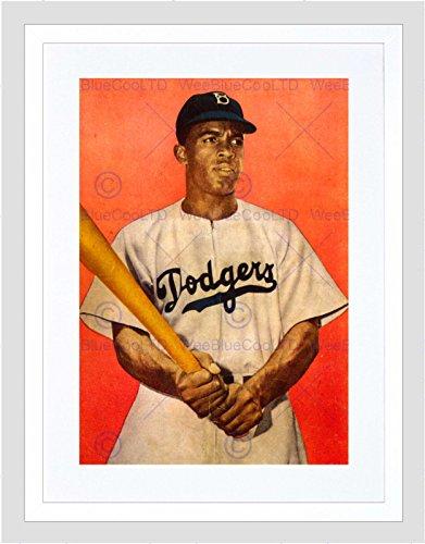 VINTAGE JACKIE ROBINSON BASEBALL BROOKLYN DODGERS FRAMED ART PRINT B12X11818 (Bild Dodgers)
