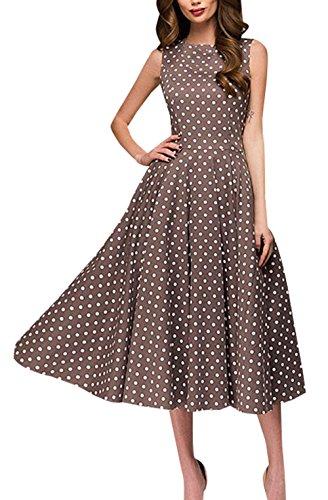 Sommer Damen 1950er Vintage Rundhals Ärmellos Midi Kleid Tunikakleid Schöne Mode Polka Dot Kleider Cocktailkleid Abendkleider Partykleid -