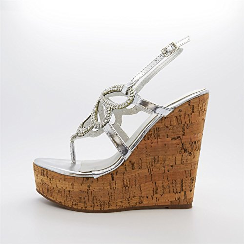 London Footwear ,  Damen Plateau Silber