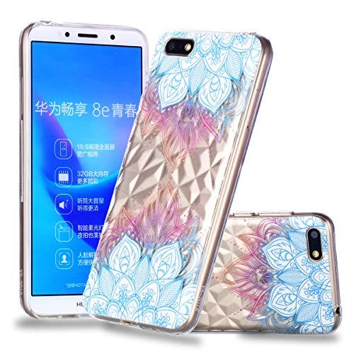 Nadoli Durchsichtige Schutzhülle für Huawei Y5 2018,Blau Henna Blumen Rautenmuster Silikon TPU Transparent Ultra Dünn Stoßfes Kratzfest Weich Back Handyhülle Cover für Huawei Y5 2018