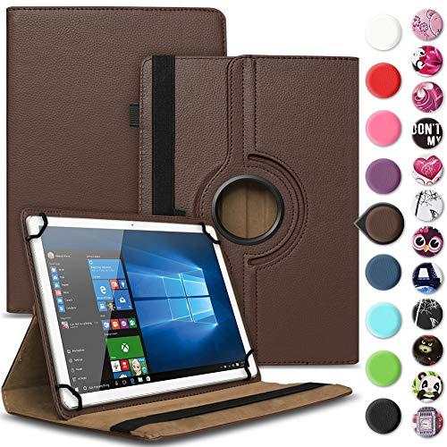 Nauci Tablet Hülle kompatibel für Odys ACE 10 Tasche Schutzhülle Case Universal Cover aus Kunst-Leder Standfunktion 360° Drehbar praktische Standfunktion, Farbe:Braun