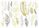 I-love-Wandtattoo WAS-10508 Kinderzimmer Wandsticker Set Sommerliche Pastell Federn in Gelb und Grau 25 Stück Feder Set zum Kleben Wandtattoo Wandaufkleber Sticker Wanddeko