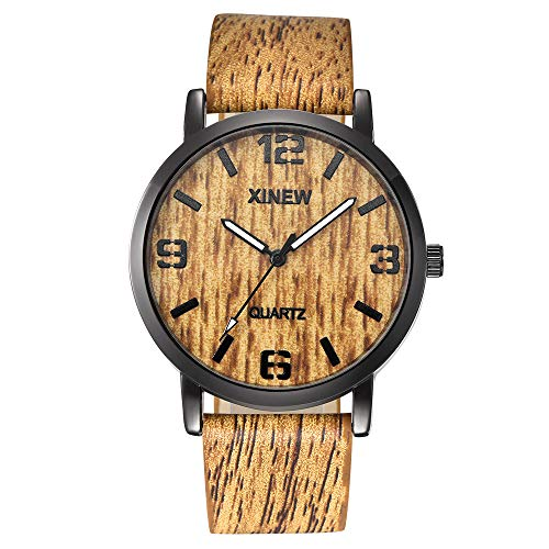 Jiameng orologio da polso, moda elegante orologio classico uomini donne texture guarda imitazione legno retrò in legno del quarzo del cuoio orologio da polso con cinturino in quarzo (marrone)