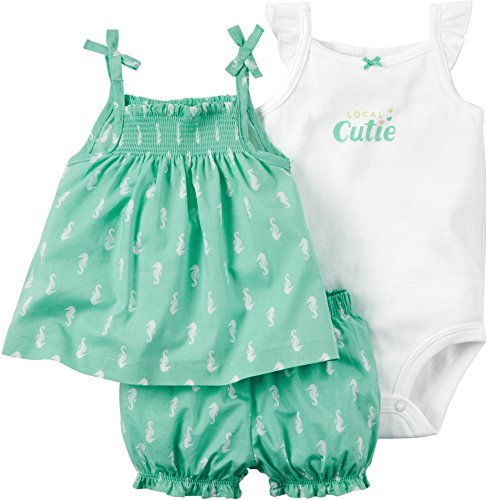 carters-3-teilige-kombination-t-shirt-body-shorts-madchen-sommer-set-girl-62-68-grun