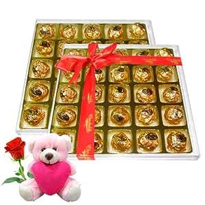 Chocholik Luxury Chocolates Luscious Taste Chocolate Box with Teddy and Rose