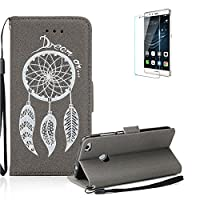 For Huawei P8 Lite(2017 Model) Case Cover [with Free Screen Protector], Funyye Retro Emboss Fashion Dream Catcher PU Leder Wallet with Card Holder Slots Stand Protective Case Cover Skin Shell for Huawei P8 Lite(2017 Model)- Gray