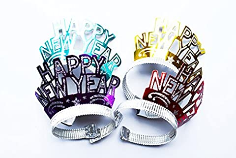 Happy New Year Tiaras 4 Pack Glitter Crown Headwear Fancy Dress 2017 Accessories