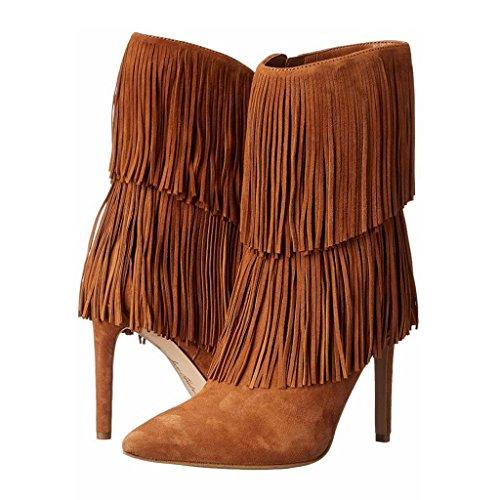 Signora Lady tallone scarpe impermeabili della caviglia Autunno Inverno Booties Scarpe da banchetto Stivali fatti a mano PU artificiale 0702FD , brown , 36 BROWN-34
