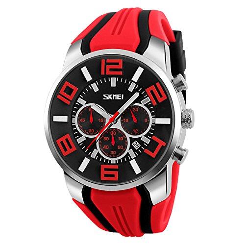 Skmei Herren Großes Gesicht Uhren YAHE Sports Wasserdicht Beiläufig Datum Kalender Analog Quarz Armbanduhr mit Gummiband (rot)