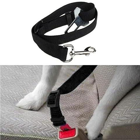 Ouneed® Chien Harnais Seat Belt Seatbel Reglable Véhicule Ceinture de Sécurité (NoIr)