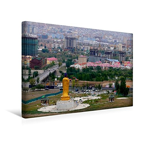 Premium Textil-Leinwand 45 cm x 30 cm quer, Buddha-Statue in Ulan-Bator   Wandbild, Bild auf Keilrahmen, Fertigbild auf echter Leinwand, Leinwanddruck: Hauptstadt der Mongolei (CALVENDO Orte)