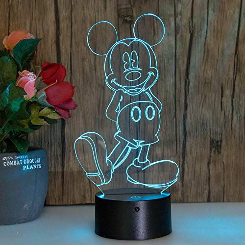 3D-Licht Mickey Mouse Dreidimensionale Nachtlicht Bunten Touch Farbwechsel Led-Licht (Mickey-mouse-projektor)