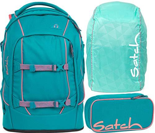 Satch Pack Ready Steady 3er Set Schulrucksack, Schlamperbox & Regencape Mint