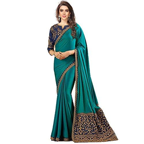 Krishna Emporia Silk Saree With Blouse Piece (Fancy Saree K9_Aqua_Free Size)