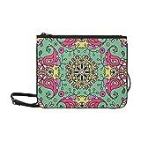 WYYWCY Raster Floral Custom High-Grade Nylon Slim Clutch Bag Umhängetasche Schultertasche