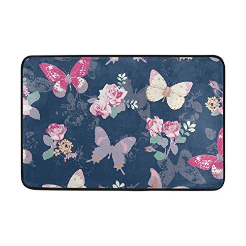 Coosun Rose mit Schmetterling auf Marine Hintergrund Fußmatte, Eintrag Weg Indoor Outdoor Tür Teppich mit Rutschfeste Unterstützung, (23,6 x 15,7 Zoll) (Marine-indoor-outdoor-teppich)