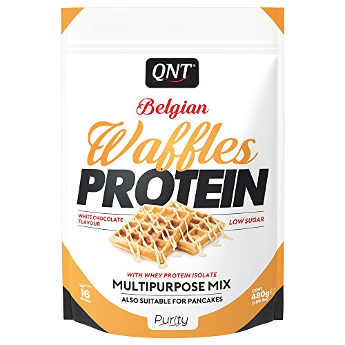 62g Protein (QNT Belgian Waffles Protein, White Chocolate, 1er Pack (1 x 480 g))