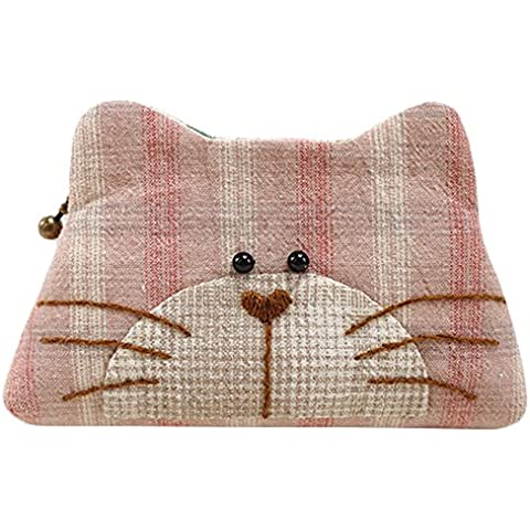 Kitty Purse facile da cucire progetto prima Kit da cucito Kit Completo con motivo e tessuto Brown Plaid