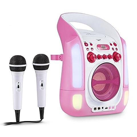 auna Kara Illumina Chaîne karaoké (lecteur CD, 2 micros, port USB, compatible MP3, effets lumineux LED, effet écho, sortie vidéo) - rose