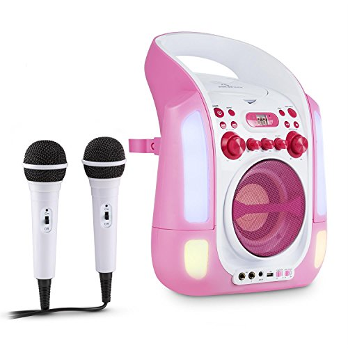 auna Kara Illumina - karaoke para niños , set de karaoke , 2 x micrófonos dinámicos , reproductor de CD+G , puerto USB , compatible con MP3 , salida de video , salida de audio , LED , rosa-blanco