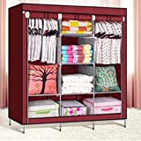 #3: Krishyam Designer Portable Clothes Closet Non-woven Fabric Wardrobe Double Rod Storage Organizer Marron