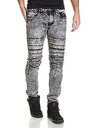BLZ jeans - jeans homme noir déchiré délavage important