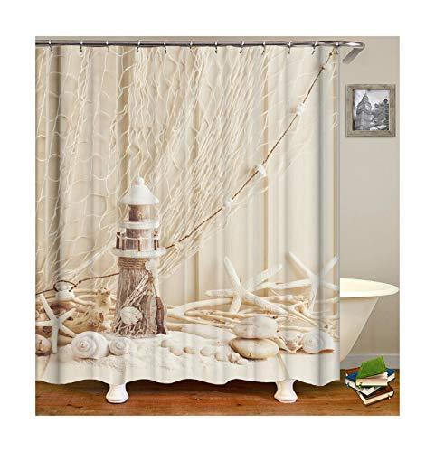 Bishilin Bad Vorhang für Badezimmer Seestern Muscheln Anti Schimmel Duschvorhang Waschbar Polyester-Stoff 120x180 (Vorhänge Muscheln Badezimmer)