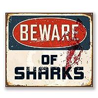 2 x 10cm/100mm Beware of Sharks Vinyl Sticker Decal Laptop Travel Luggage Car Bike Sign Fun #6526