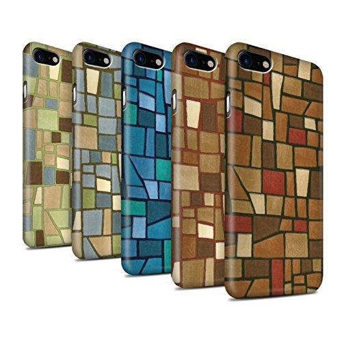 STUFF4 Matte Snap-On Hülle / Case für Apple iPhone 8 / Grün/Blau Muster / Mosaik Fliese Kollektion Multipack (9 Pcs)