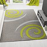 VIMODA cascadapl6678 - Alfombra de diseño de alta calidad con costuras cortadas a mano, diseño de círculos, calidad superior, color verde y gris, carbón, 80 x 150 cm