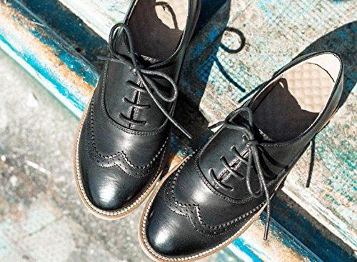 Scarpe piattaforma Bullock delle nuove donne Oxford Lace Up righe Piattaforma Brown Black Fashion Vintage piana femminile Black