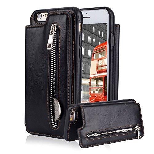 Price comparison product image For iPhone 6 Plus / 6S Plus Pocket Case,  Aearl TPU Bumper Shell Back Magnetic Button Closure Vintage PU Leather Cover Zipper Wallet Purse Card Holder Photo Frame Slot Kickstand Case for iPhone 6S Plus / 6 Plus - Black