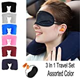 #8: Karp 3 in 1 Travel Set Kit - U-Shape Inflatable Neck Pillow for Sleeping & Rest + Comfortable Eye Mask + Soft Noise-Blocking Earplugs, Great for Long Journey on Plane, Train, Coach and More By KARP - Assorted Color