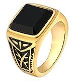 Gnzoe Schmuck Herren Edelstahl Ringe Quadrat Retro Muster Eheringe Elegant Herrenringe Gold mit Schwarz Zirkonia Gr.65 (20.7)