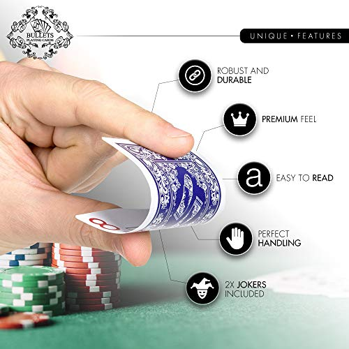 Bullets Playing Cards two decks of waterproof designer poker cards in deluxe 100% plastic with jumbo index - professional premium playing cards for Texas Holdem Poker