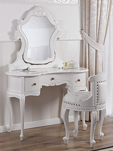 Tocador barroco blanco con espejo y silla de tocador. Tocador de lujo exclusivo.