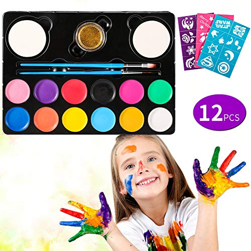 Volador Kinderschminken Schminkfarben, 12er Schminkset Kinder Wit 1 Glitzer, 2 Pinsel, 2 Schwämme,26 malerschablonen - Kinder Parties Halloween Karneval Make-up Bodypainting