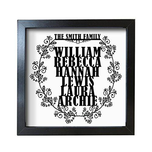 Personalised nostra famiglia floreale ghirlanda Frosted cornice a scatola