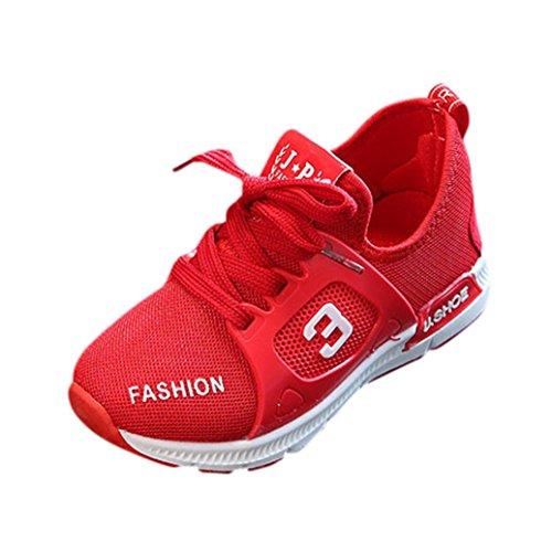 FNKDOR Kinder Schuhe Sneaker 20-29 Turnschuhe Mädchen Jungen Leuchtschuhe Sportschuh(24 EU(25CN) 15CM,Rot)