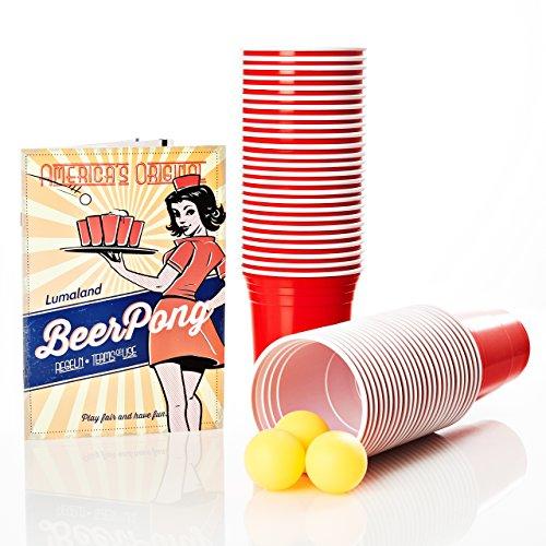 Lumaland Partybecher 50 Stück und 3 Beer Pong Bälle als Set 16 oz Beer Pong Trinkbecher extra stark rot (Entspannt Wasser Auge)