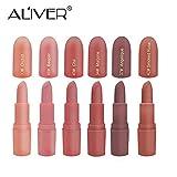 Idratante rossetto, Aliver 6colori rossetti set perfetto per ragazze donne impermeabile durevole idratante trucco rossetti, nude e naturale colore scuro