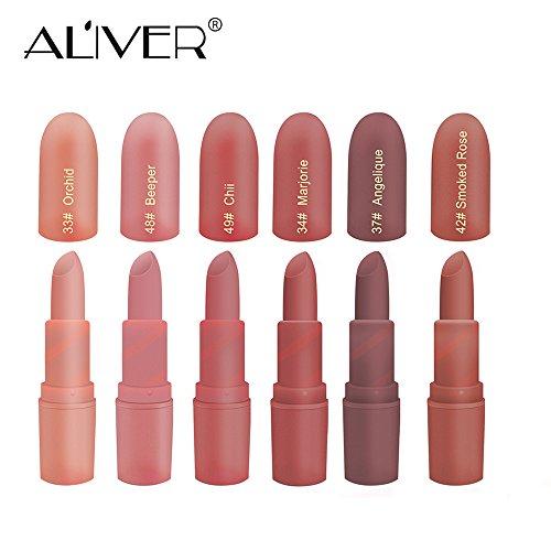 """Feuchtigkeitsspendender Lippenstift, Aliver 6 Farben Lippenstift-Set Matt für Damen, wasserfest, langanhaltende pflegende Makeup-Lippenstifte, """"Nude and Natural"""" Farbe: Dunkel"""