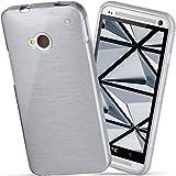moex HTC One M7 | Hülle Silikon Silber Brushed Back-Cover TPU Schutzhülle Ultra-Slim Handyhülle für HTC One M7 Case Dünn Silikonhülle Rückseite Tasche