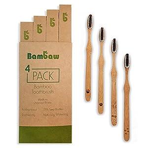 Bambus Zahnbürste | Ökologische Handzahnbürste | Weiße Zähne durch Aktivkohle | Antibakterielle Reinigung | Plastikfreie Holz Zahnbürsten | Biologisch abbaubarer Griff | Weiche Borsten | 4er Pack