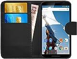 G-Shield Motorola Google Nexus 6 Hülle mit Kartenfach Ledertasche Klapphülle PU Leder Schutzhülle Tasche Flip Case Cover Etui Handyhülle mit Displayschutzfolie und Stylus - Schwarz