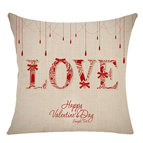 NPRADLA Happy Valentine's Day Throw Pillow Case Sweet Love Square Cushion Cover...